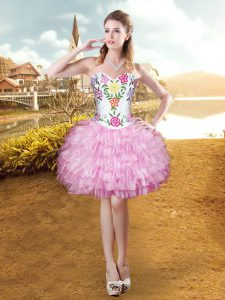 Sumptuous Organza Sleeveless Mini Length Pageant Dress Womens and Embroidery and Ruffled Layers