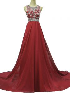 Burgundy Sleeveless Brush Train Beading Pageant Dress Wholesale