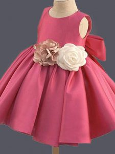 Sleeveless Bowknot and Hand Made Flower Clasp Handle Pageant Gowns