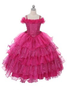 Fuchsia Sleeveless Ruffles and Ruffled Layers Floor Length Flower Girl Dresses
