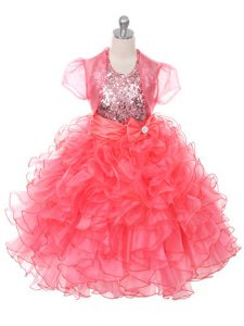 Enchanting Floor Length Ball Gowns Sleeveless Coral Red Glitz Pageant Dress Lace Up