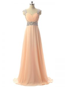 Cap Sleeves Chiffon Floor Length Lace Up Pageant Dress in Peach with Beading