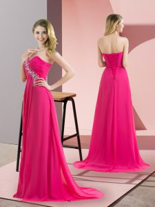 Fitting Hot Pink Pageant Dress for Teens Prom and Party with Beading Sweetheart Sleeveless Lace Up