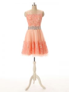 Peach Zipper Scoop Beading and Lace and Appliques Pageant Dress Womens Tulle Sleeveless