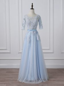 Light Blue 3 4 Length Sleeve Beading and Lace and Appliques Lace Up High School Pageant Dress
