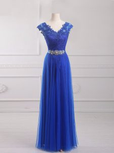 High End Short Sleeves Lace Up Floor Length Beading and Lace and Appliques and Belt Glitz Pageant Dress