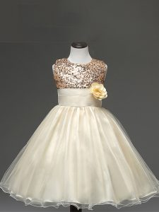 Ball Gowns Flower Girl Dress Champagne Scoop Tulle Sleeveless Knee Length Zipper