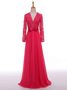 Graceful Long Sleeves Lace and Appliques and Belt Zipper Pageant Dress for Teens