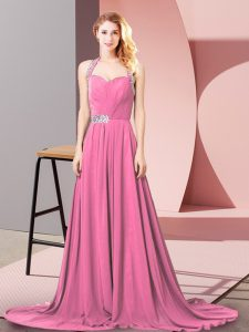 Fancy Empire Sleeveless Pink Pageant Dress for Teens Brush Train Zipper