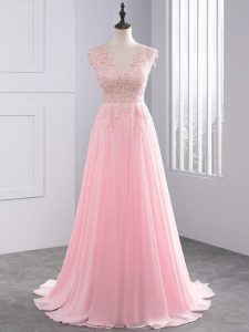 V-neck Sleeveless Brush Train Side Zipper Pageant Dress for Teens Baby Pink Chiffon