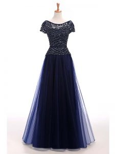 Floor Length Navy Blue Pageant Dress Wholesale Scoop Short Sleeves Lace Up