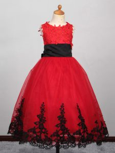 Graceful Tulle Bateau Sleeveless Lace Up Appliques Flower Girl Dress in Red