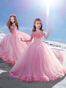Luxurious Sleeveless Hand Made Flower Lace Up Pageant Dress for Teens with Baby Pink Court Train