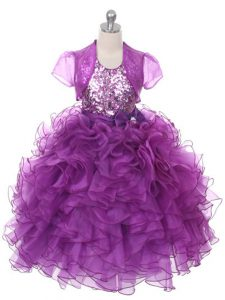 Floor Length Lace Up Flower Girl Dress Purple for Wedding Party with Ruffles and Sequins and Bowknot
