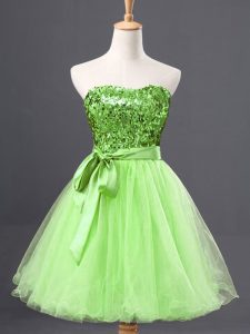 Yellow Green Sweetheart Zipper Sashes ribbons and Sequins Pageant Dress for Womens Sleeveless