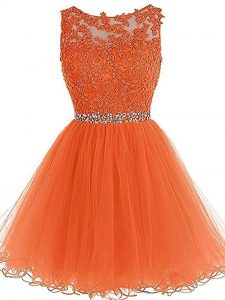 Attractive Orange Zipper Pageant Dress Wholesale Beading and Ruffles Sleeveless Mini Length