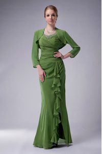 Floor Length Mermaid Sleeveless Green Pageant Dress for Teens Zipper