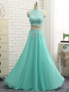 Luxurious Lace and Appliques Pageant Gowns Apple Green Side Zipper Sleeveless Mini Length
