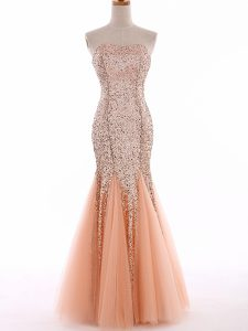 Trendy Sweetheart Sleeveless Tulle Pageant Gowns Sequins Lace Up
