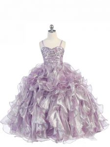 Lavender Ball Gowns Organza Spaghetti Straps Sleeveless Beading and Ruffles Floor Length Lace Up Pageant Dress for Teens