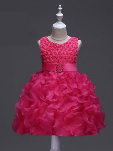 Hot Pink Ball Gowns Ruffles and Belt Pageant Dress for Womens Lace Up Organza Sleeveless Knee Length