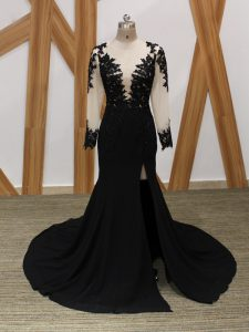 Lace and Appliques Pageant Dress Wholesale Black Zipper Long Sleeves Brush Train