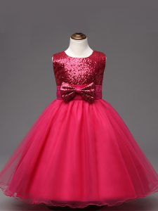 Hot Pink Ball Gowns Scoop Sleeveless Organza Tea Length Zipper Sequins and Bowknot Glitz Pageant Dress