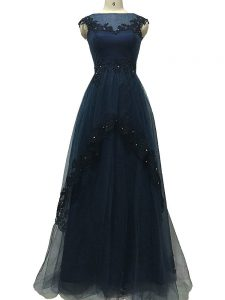 Beautiful Navy Blue Sleeveless Tulle Zipper Evening Gowns for Prom and Beach