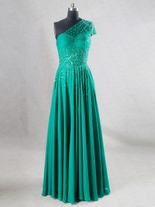 Romantic Sleeveless Chiffon Floor Length Backless Pageant Dress for Teens in Turquoise with Beading and Pleated
