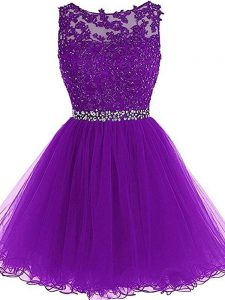 Eggplant Purple Pageant Dress Wholesale Prom and Party and Sweet 16 with Beading and Ruffles Scoop Sleeveless Zipper