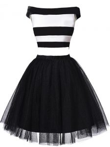 Hot Selling Off The Shoulder Sleeveless Zipper Pageant Dress for Girls White And Black Tulle