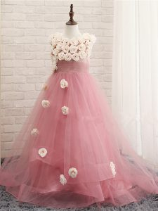 Cheap Pink Sleeveless Hand Made Flower Zipper Winning Pageant Gowns