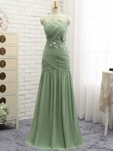 Olive Green Chiffon Zipper Scoop Sleeveless Evening Gowns Brush Train Ruching and Hand Made Flower