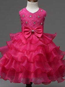 Lace and Ruffled Layers and Bowknot Pageant Dress for Womens Hot Pink Zipper Sleeveless Knee Length