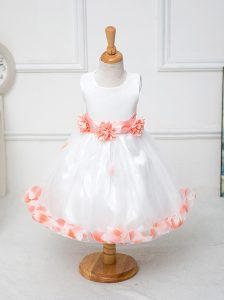 Sleeveless Zipper Knee Length Appliques and Hand Made Flower Flower Girl Dresses