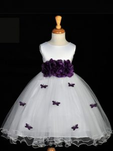 Scoop Sleeveless Pageant Dress for Womens Knee Length Appliques and Bowknot and Hand Made Flower White Tulle