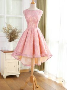New Arrival Bateau Sleeveless Pageant Dress for Girls High Low Lace and Appliques Pink Lace