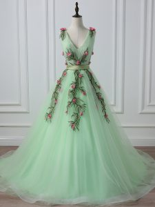Fine Apple Green A-line Belt and Hand Made Flower Pageant Dress for Teens Lace Up Tulle Sleeveless