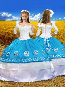 Superior Blue And White Taffeta Lace Up Off The Shoulder 3 4 Length Sleeve Floor Length Pageant Dress for Teens Embroidery and Ruffles