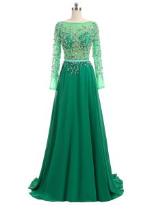 Low Price Empire Long Sleeves Green Pageant Dress Brush Train Backless