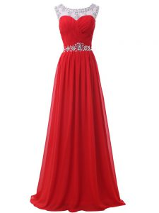 Pretty Red Sleeveless Chiffon Backless Pageant Dress for Girls for Prom and Military Ball and Sweet 16