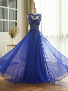 Suitable Royal Blue Sleeveless Chiffon Zipper Pageant Dress for Teens for Prom and Military Ball and Beach
