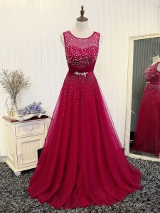 Top Selling Beading and Belt Custom Made Pageant Dress Fuchsia Zipper Sleeveless Brush Train