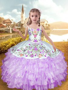 Fashion Lilac Straps Neckline Embroidery and Ruffled Layers Pageant Dresses Sleeveless Lace Up