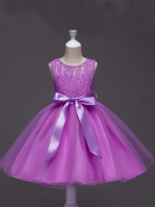 Lilac Evening Gowns Wedding Party with Lace and Belt Scoop Sleeveless Zipper