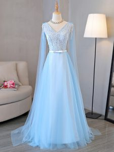 Fabulous Baby Blue Long Sleeves Beading and Belt Lace Up Evening Gowns