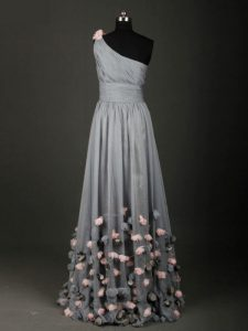 Wonderful One Shoulder Sleeveless Pageant Dress Toddler Floor Length Pleated and Belt and Hand Made Flower Grey Chiffon