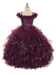 Floor Length Burgundy Pageant Dress for Teens Organza Sleeveless Ruffles and Ruffled Layers