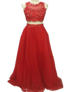 Most Popular Two Pieces Sleeveless Red Pageant Dress for Girls Sweep Train Zipper