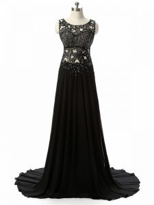 Black Side Zipper Winning Pageant Gowns Beading and Lace and Appliques Sleeveless Brush Train